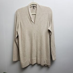 Anthropologie Creme Long Sleeve V-Neck Sweater XL